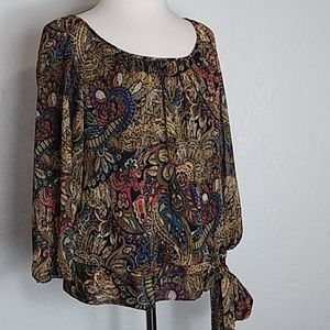 Sara Michelle sheer Multi colored Blouse Top Small